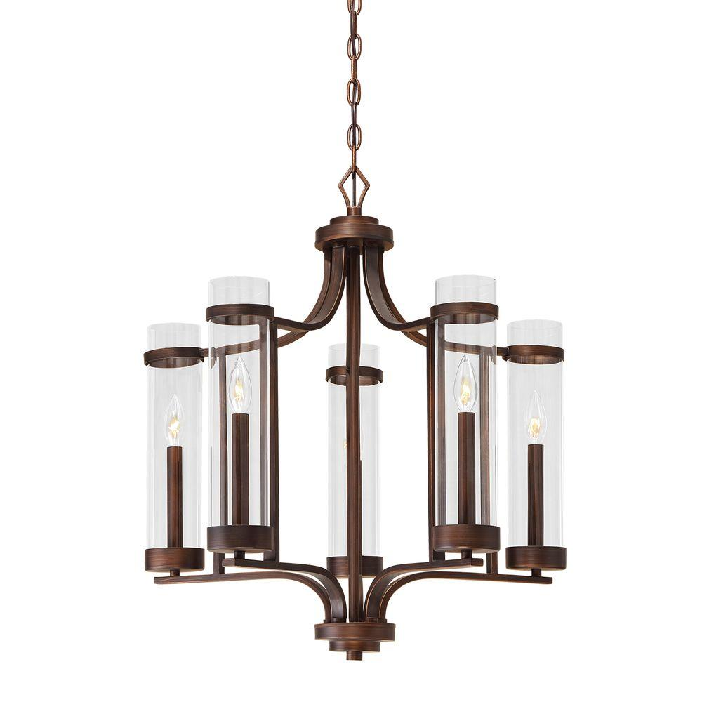 Milan Collection 5-Light Rubbed Bronze Chandelier With