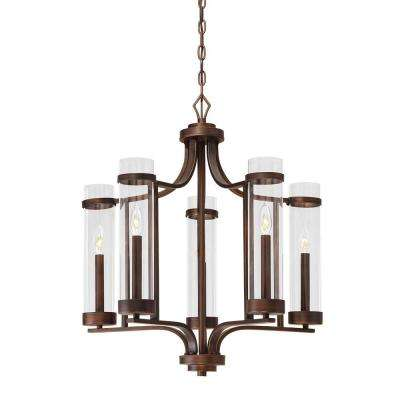 Milan Collection 5-Light Rubbed Bronze Chandelier with Clear Glass