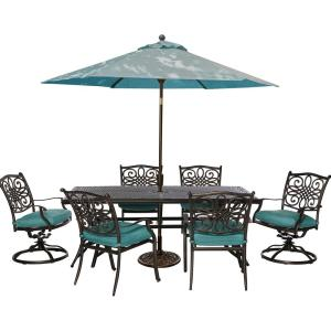 Hanover Traditions 7-Piece Outdoor Rectangular Patio Dining Set, 2 Swivel... by Hanover