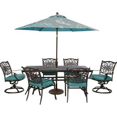 Traditions 7-Piece Outdoor Rectangular Patio Dining Set, 2 Swivel Rockers, Umbrella and Base with Blue Cushions