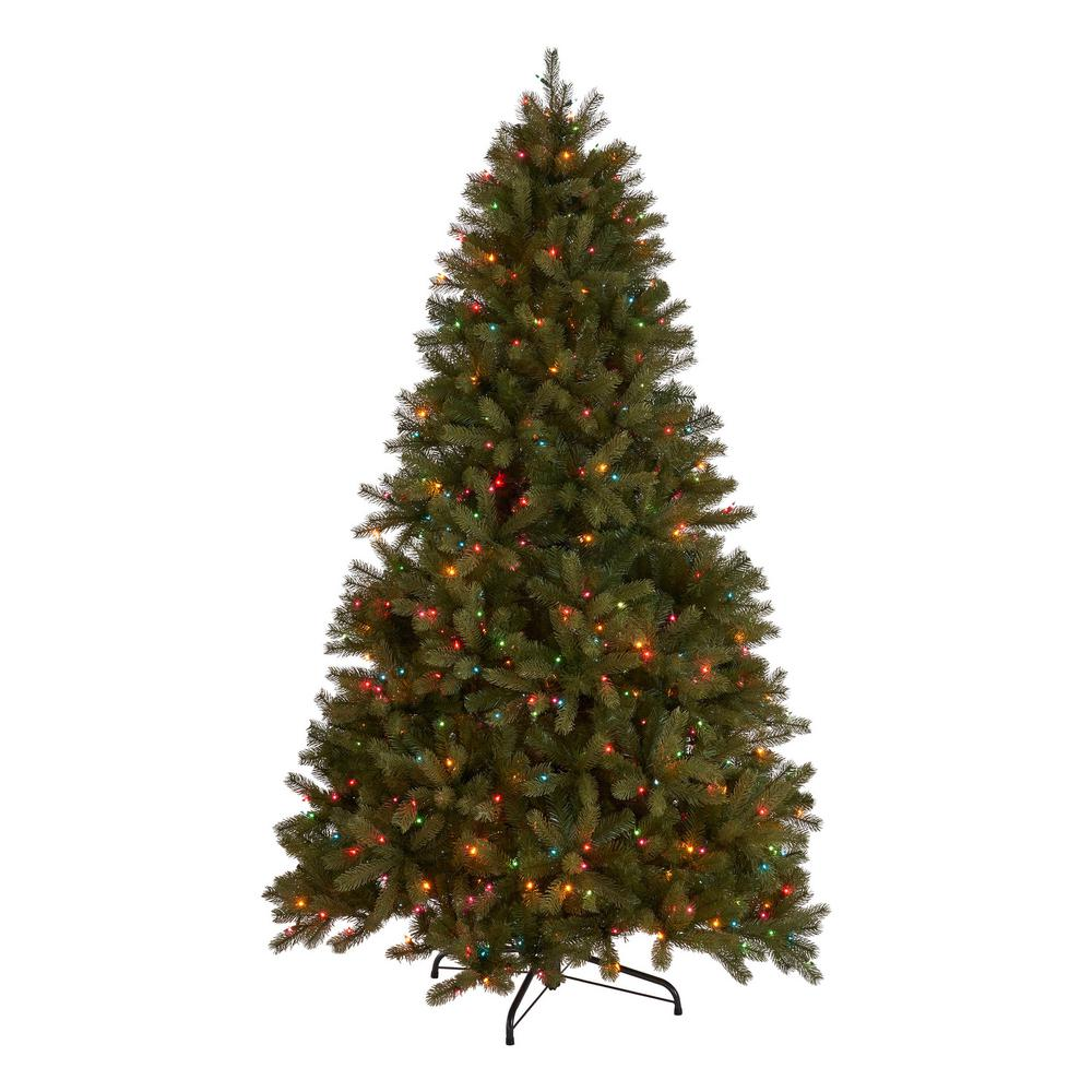 7 5 Foot Artificial Christmas Tree Multi Colored Lights: Noble House 7 Ft. Pre-Lit Mixed Spruce Artificial