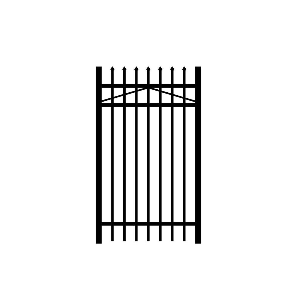 Allure Aluminum Worthington 3 ft. x 4 ft. Black Aluminum 3-Rail Fence Gate