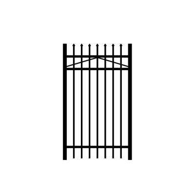 Worthington 3 ft. x 5 ft. Black Aluminum 3-Rail Fence Gate