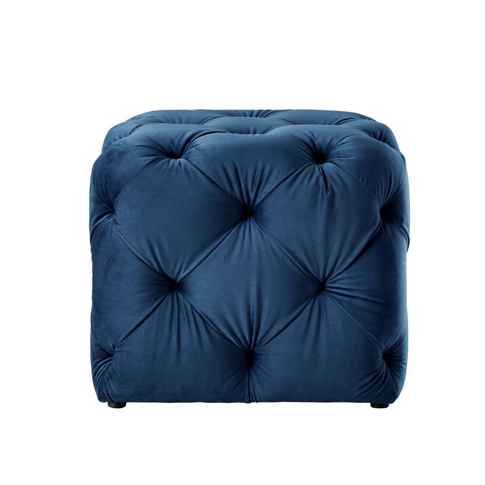 Strange Inspired Home Genevieve Navy Cube Tufted Upholstered Velvet Dailytribune Chair Design For Home Dailytribuneorg