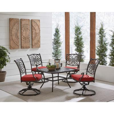 Traditions 5-Piece Aluminum Outdoor Dining Set with Autumn Berry Cushions