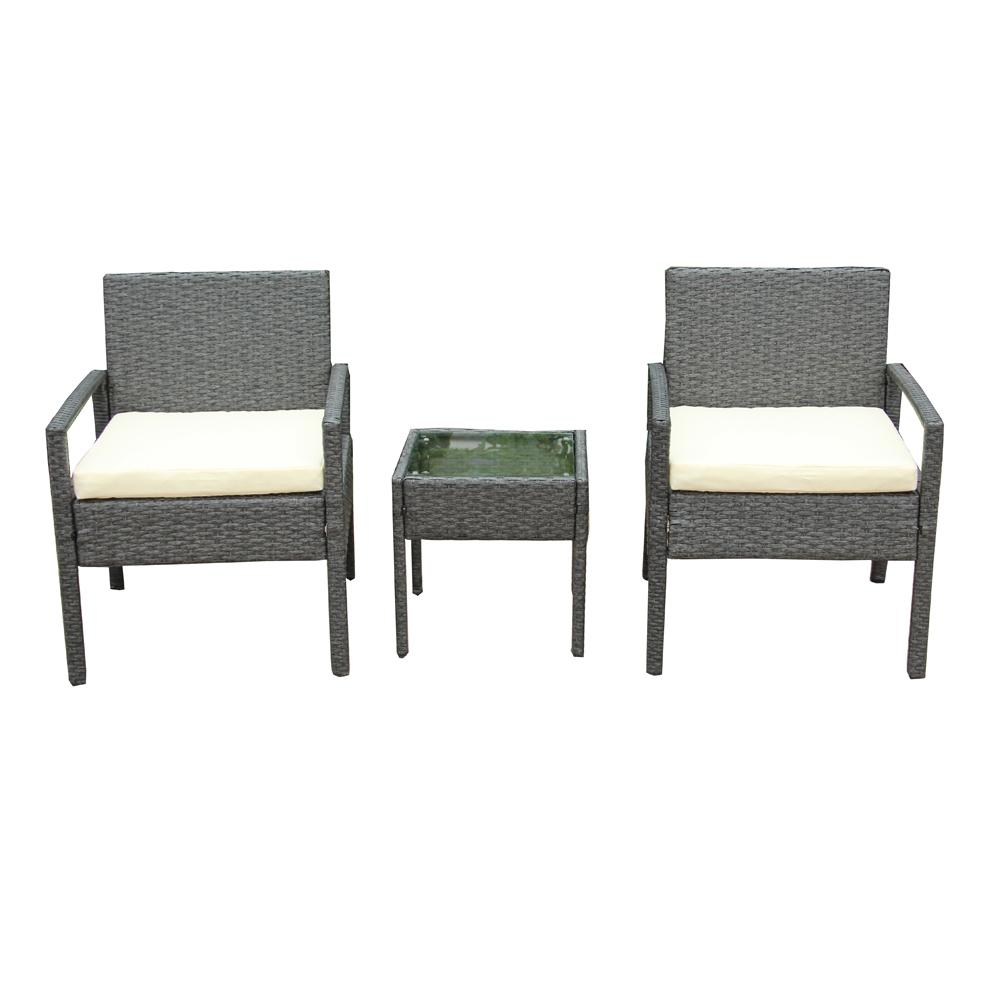 Gray 3 Piece Wicker Patio Conversation Set With White Cushions