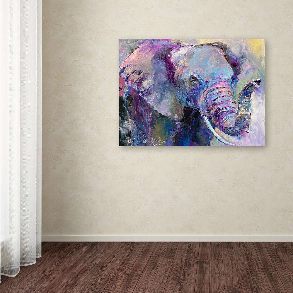 Trademark Fine Art 18 In X 24 In Blue Elephant By Richard Wallich Printed Canvas Wall Art Ali5875 C1824gg The Home Depot