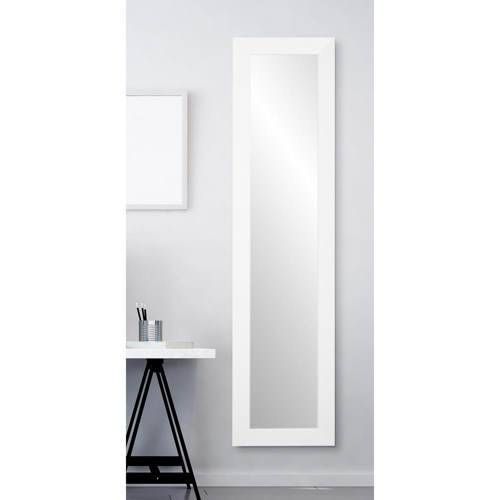 Oversized White Composite Hooks Modern Mirror (71 in. H X 16 in. W)