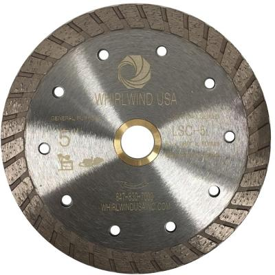 5 in. Turbo Rim Diamond Blade for Dry or Wet Cutting Concrete, Stone, Brick and Masonry