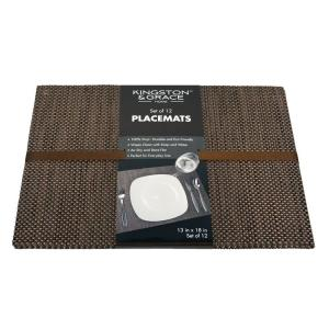 Kingston & Grace Kingston and Grace 13in. x 18in. Weave Placemat in Brown (Set of 12) by Kingston & Grace