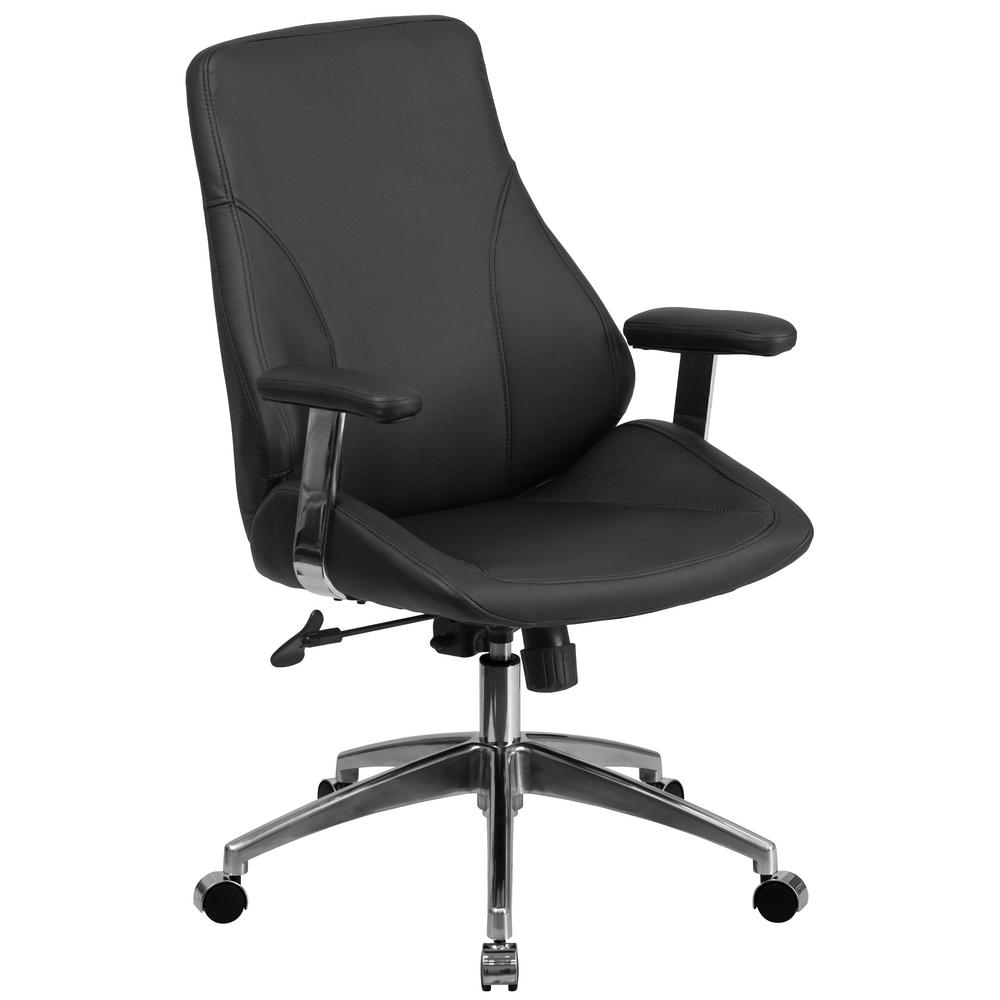Mid-Back Black Leather Executive Swivel Office Chair