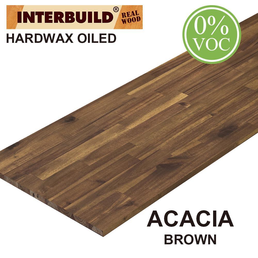 Acacia 6 ft. L x 40 in. D x 1 in. T Butcher Block Island Countertop in Brown Oil Stain