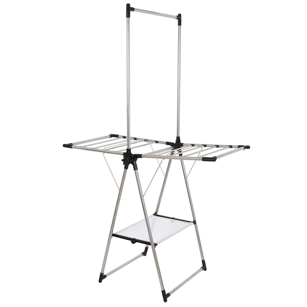 hanger rack drier tier organizer stand drying clothes itm folding stainless