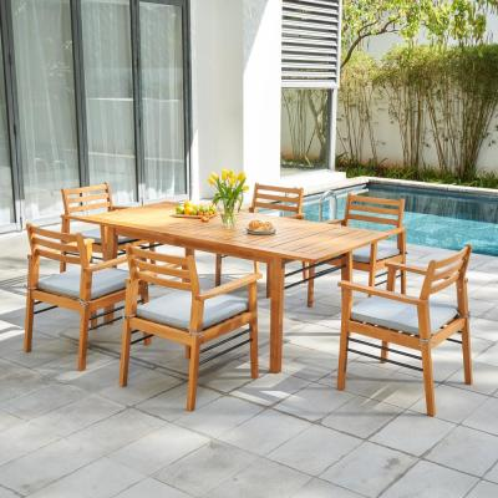 Gloucester 7-Piece Wood Rectangular Outdoor Dining Set with Light Grey Cushions