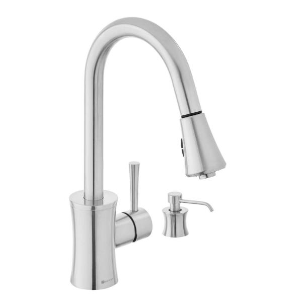 Luca Single-Handle Pull-Down Sprayer Kitchen Faucet in Stainless Steel