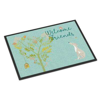 18 in. x 27 in. Indoor/Outdoor Welcome Friends Italian Greyhound Door Mat
