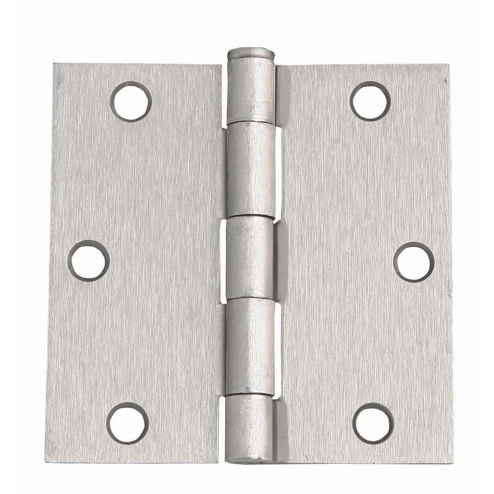3-1/2 in. x 3-1/2 in. Satin Nickel Square Corner Door Hinge