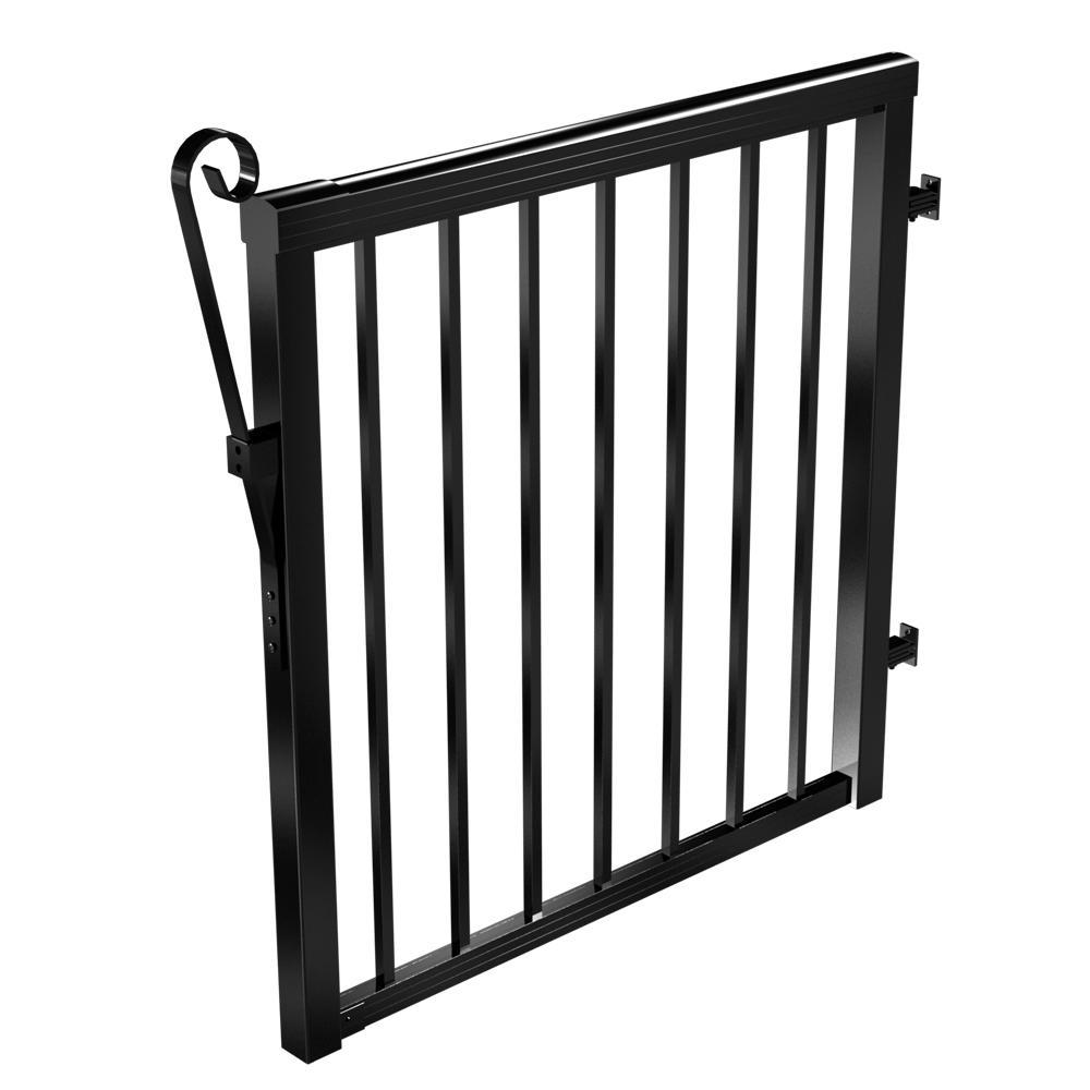 3-5/6 ft. x 3-1/3 ft. Black Aluminum Single Walk Through Picket Gate