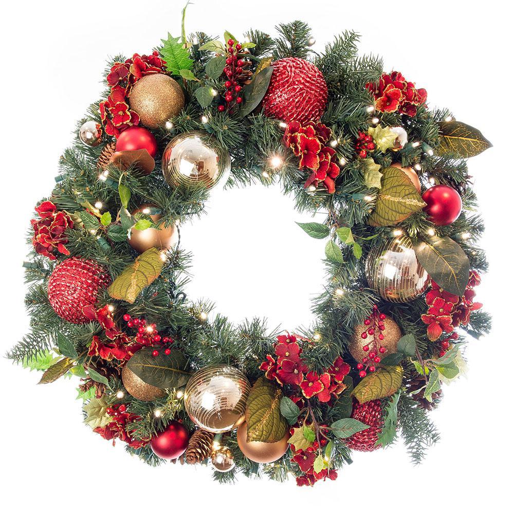 30 in. Pre-Lit LED Scarlet Hydrangea Wreath