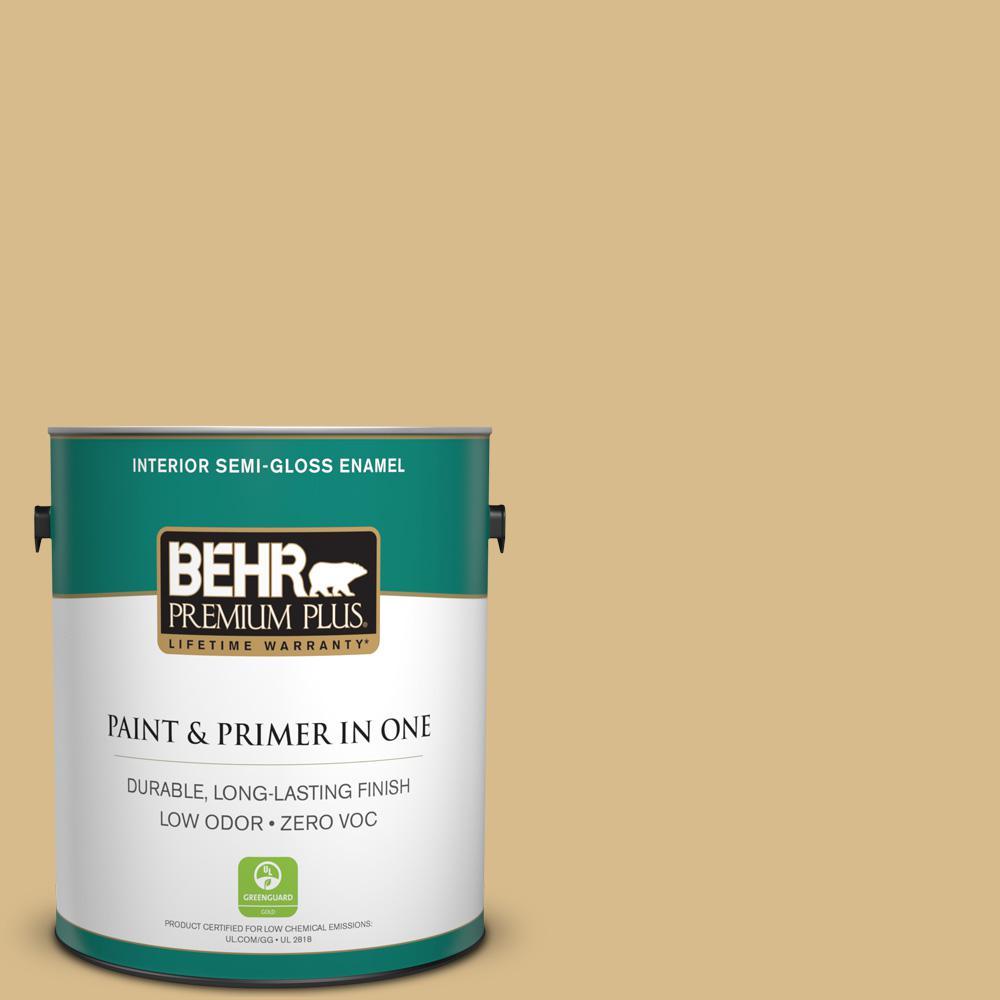 BEHR Premium Plus 1 gal. #350F-5 Camel Semi-Gloss Enamel Zero VOC ...