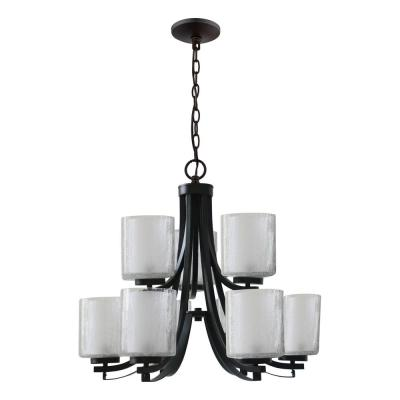 9-Light Oil Rubbed Bronze Modern Classic Chandelier with Double Layered Clear Seeded Outer and Frosted Inner Glass