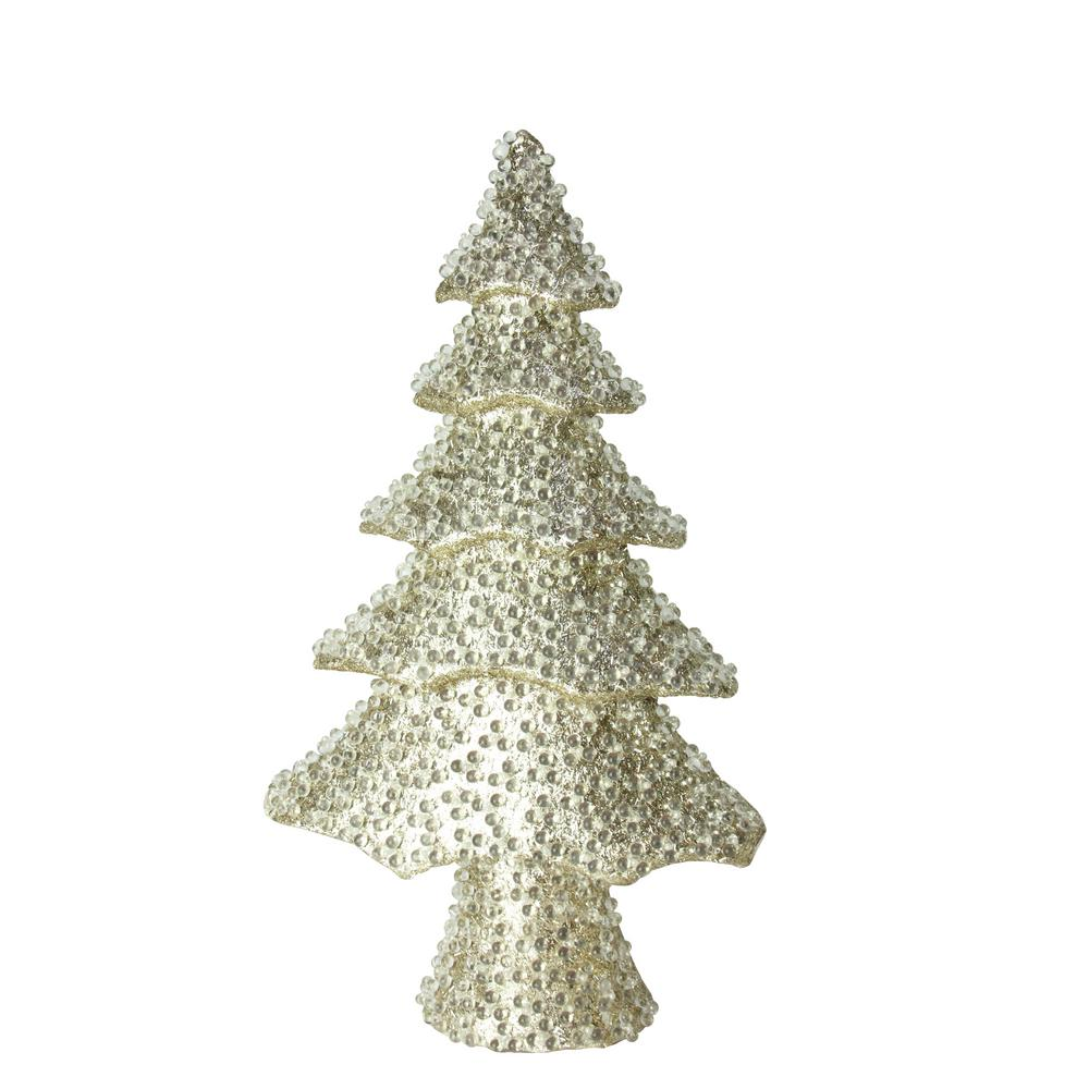 Northlight 20 5 In All That Glitters Beaded And Gold Glittered Christmas Tree Table Top Decoration