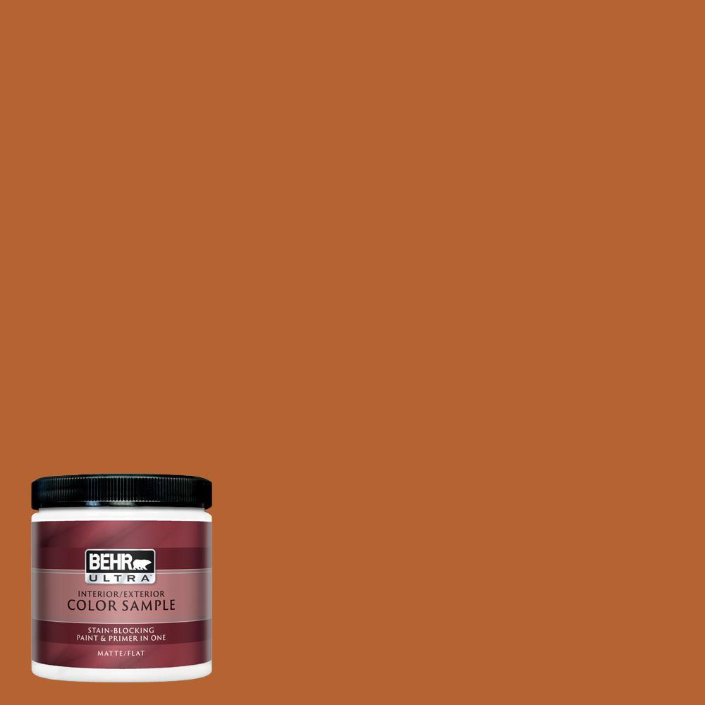 Behr Ultra 8 Oz 250d 7 Caramelized Orange Matte Interior Exterior Paint And Primer In One Sample