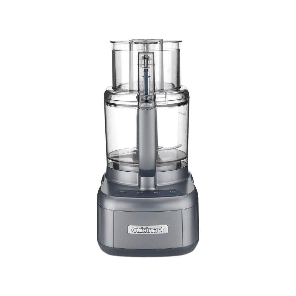 Elemental Food Processor, Metallic Carbon The Cuisinart Elemental 11 Food Processor allows users to quickly and easily prep larger portions of ingredients for bigger meals. With and 11-cup work bowl, 1 stainless steel blade and 2-discs, its the ultimate timesaver, making quick work of everything from chopping nuts and pureeing soup to slicing tomatoes and shredding cheese. The rubberized touchpad with Pulse control offers the ease of use and versatility that makes this classic the favorite of creative home cooks. Color: Metallic Carbon.