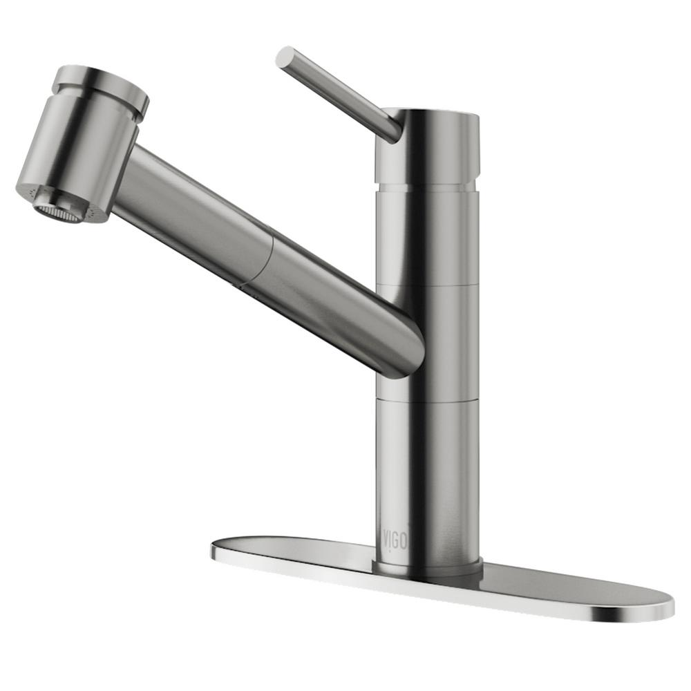 Vigo Branson Stainless Steel Pull Out Spray Kitchen Faucet