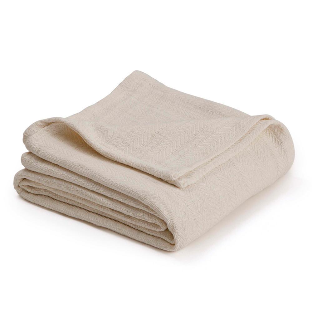 Vellux Woven Ecru Cotton Full/Queen Blanket 026705447827