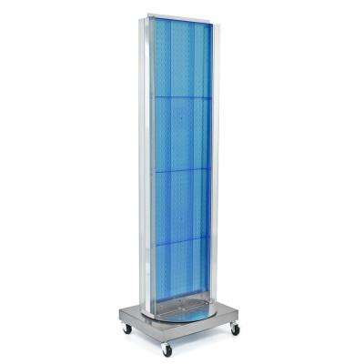 60 in. H x 16 in. W Pegboard Floor Display in Blue with C-Channel Sides on a Revolving Base