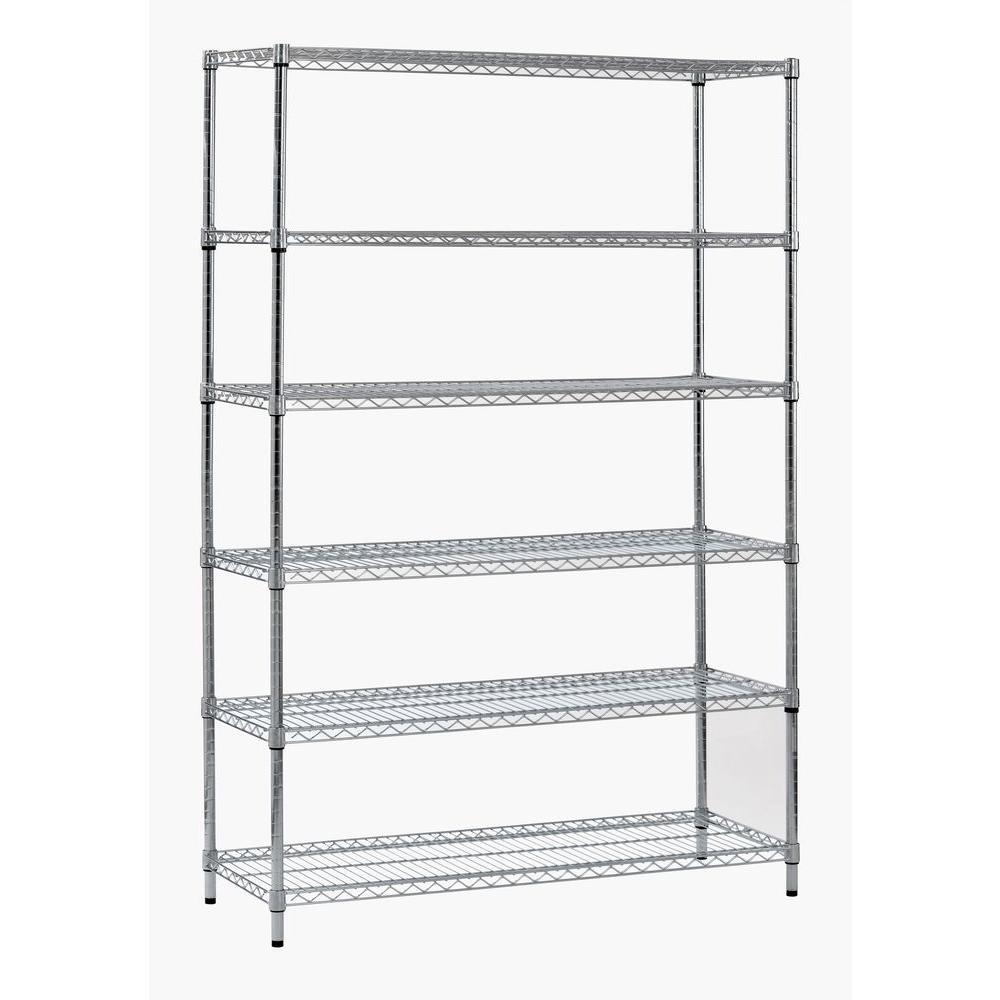 Sandusky Sandusky 72 in. H x 48 in. W x 18 in. D 6-Shelf Steel Shelving Unit in Zinc, Grey