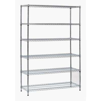 72 in. H x 48 in. W x 18 in. D 6-Shelf Steel Shelving Unit in Zinc