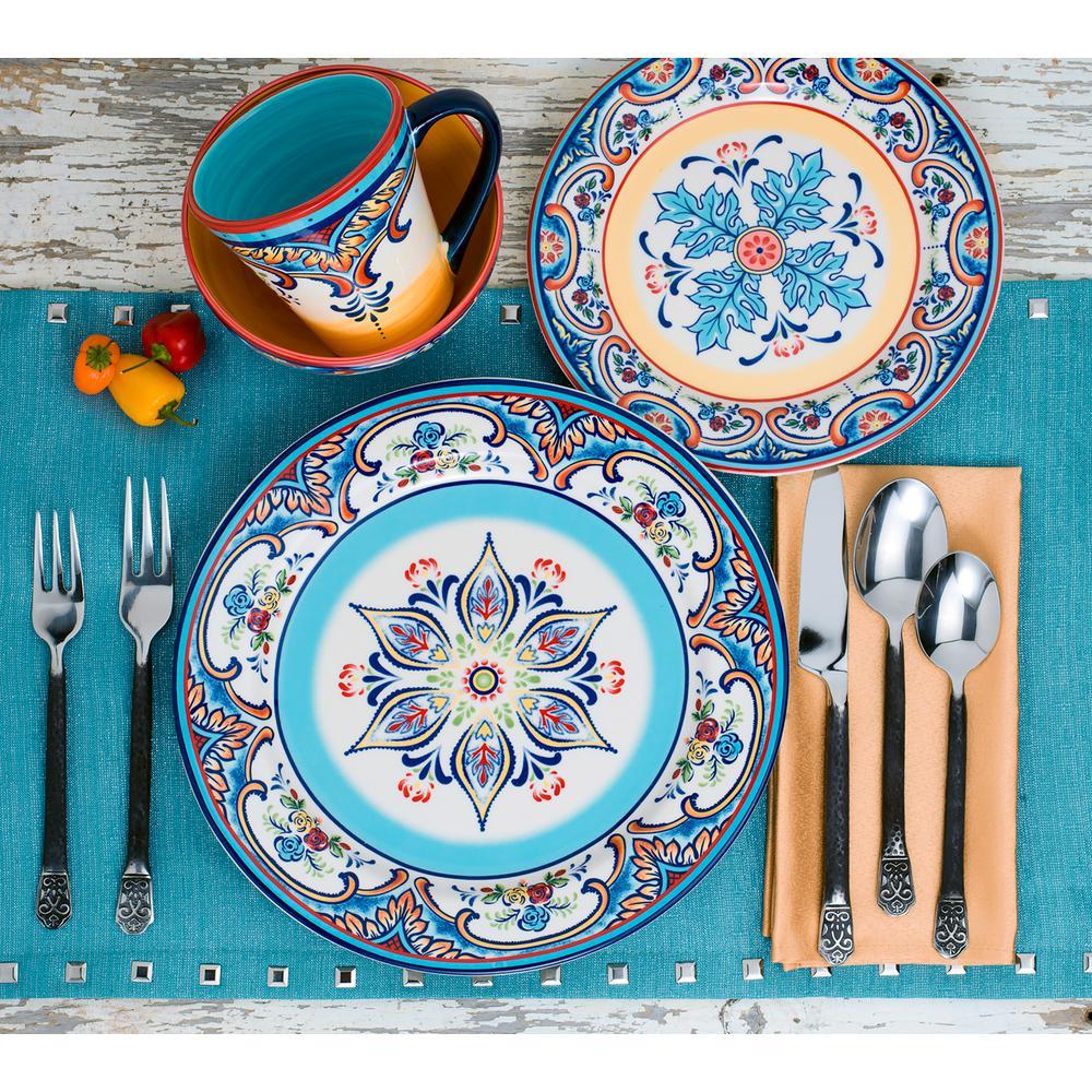 Zanzibar 16-Piece Patterned Multicolor/Spanish Floral Design Ceramic Dinnerware Set (Service for 4)