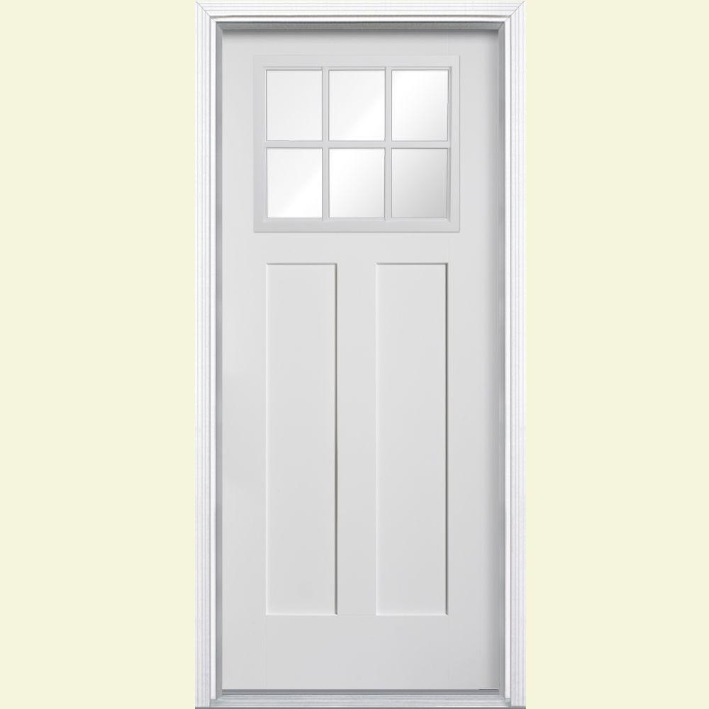 Masonite 36 in x 80 in craftsman 6 lite right hand inswing craftsman 6 lite right hand inswing primed white smooth fiberglass prehung front door w brickmold 27158 the home depot rubansaba