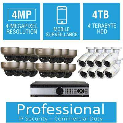24-Channel 4MP 4TB Network Video Recorder with (16) Dome Cameras and (8) Bullet Cameras