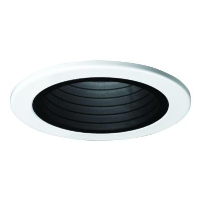 E26 Series 4 in. Black Recessed Ceiling Light Plastic Step Baffle with White Trim Ring