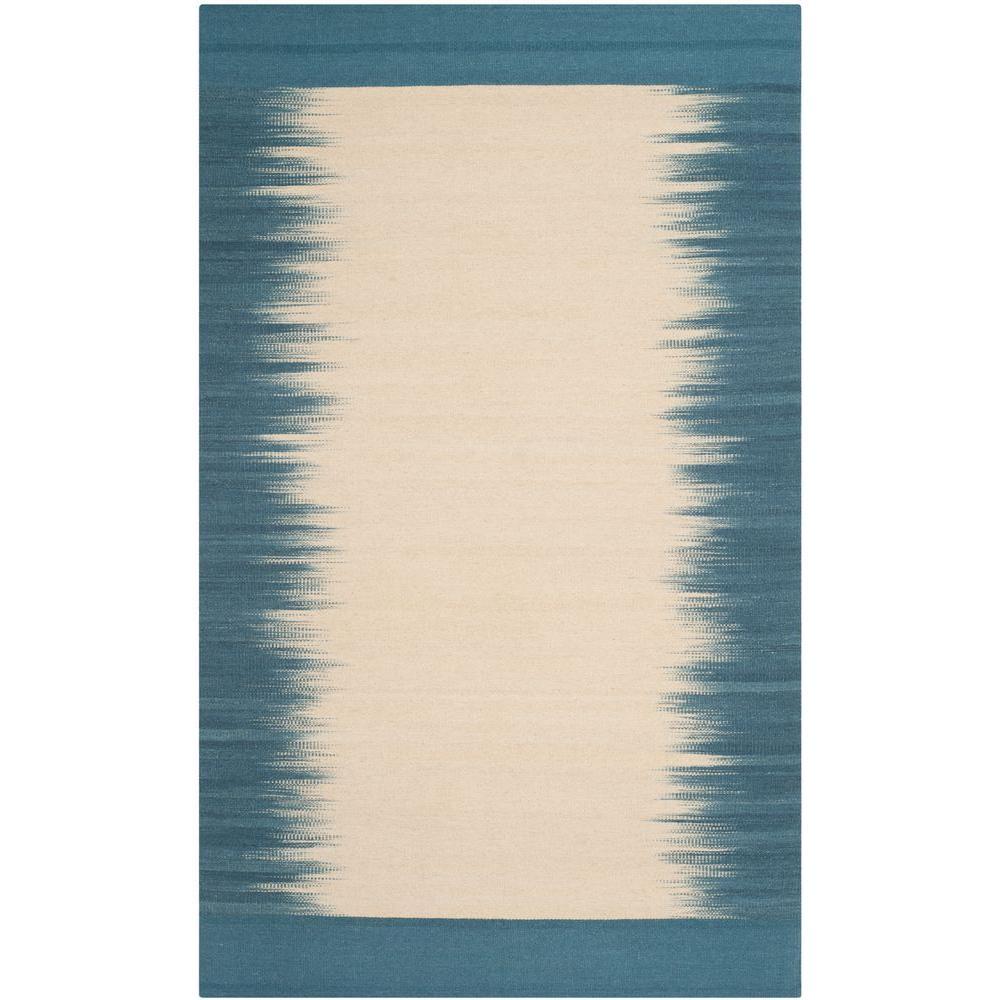 Kilim Beige/Light Blue 4 ft. x 6 ft. Area Rug