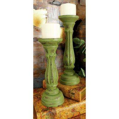Distressed Green Wood Candle Holder (Set of 3)