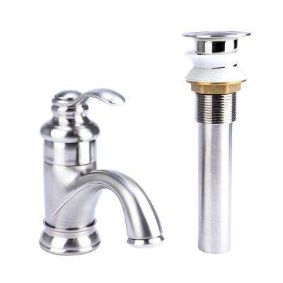 Transitional Single Hole Single-Handle Bathroom Faucet with Drain in Brushed Nickel