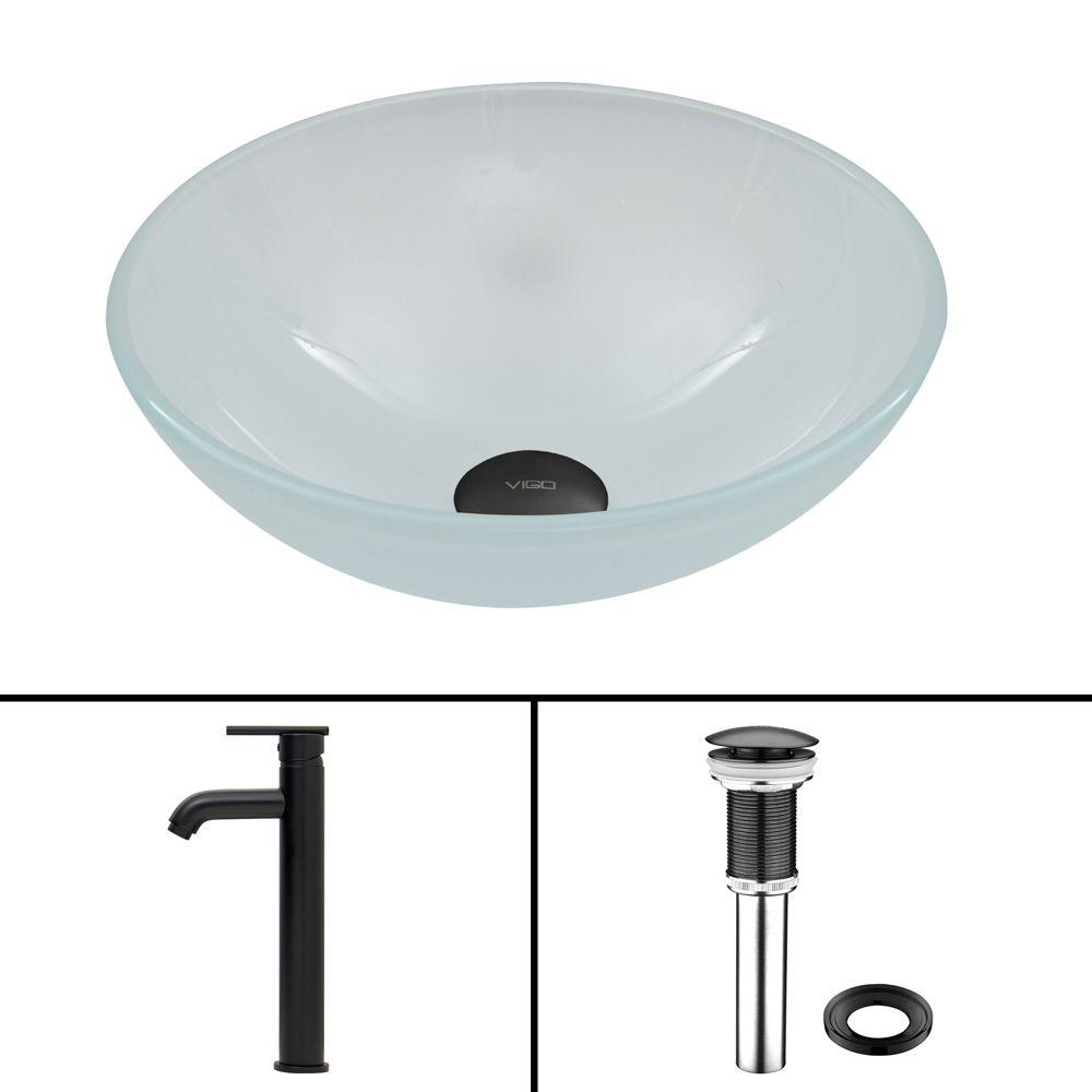 VIGO Glass Vessel Sink in White Frost and Seville Faucet Set in Matte Black