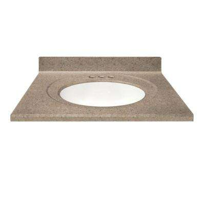 37 in. Cultured Granite Vanity Top in Brown Sugar Color with Integral Backsplash and White Bowl