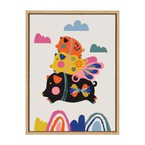 Sylvie ''Flying Pigs'' by Rachel Lee of My Dream  Animal Framed Canvas  Wall Art 24 in. x 18 in.