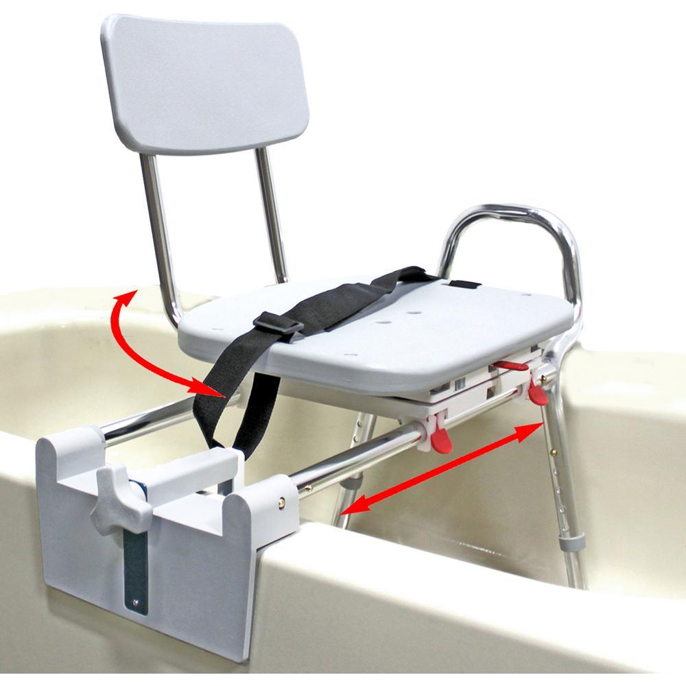 Tub-Mount Swivel Sliding Bath Transfer Bench - 350 lb. Weight Capacity- Heavy-Duty Shower Bathtub Chair