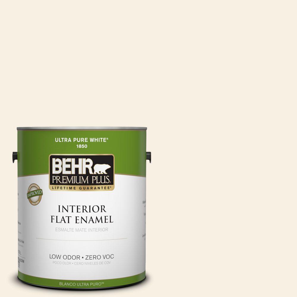 BEHR Premium Plus 1-gal. #ECC-49-2 Historic Cream Zero VOC Flat Enamel Interior Paint-DISCONTINUED