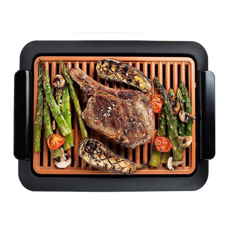 224 sq. in. Black Copper Non-Stick Ti-Ceramic Electric Smoke-less Indoor Grill
