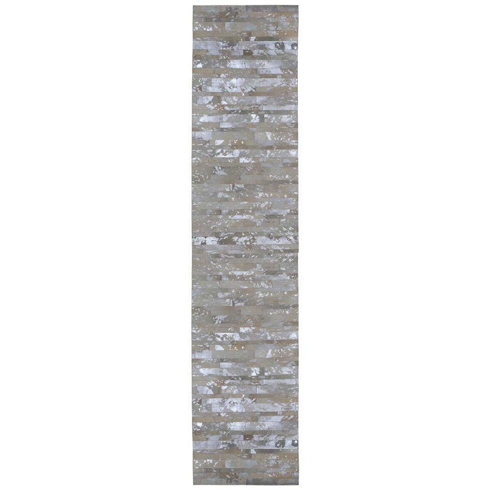 White Leather Hair-On 2 ft. 6 in. x 8 ft. Rug Runner