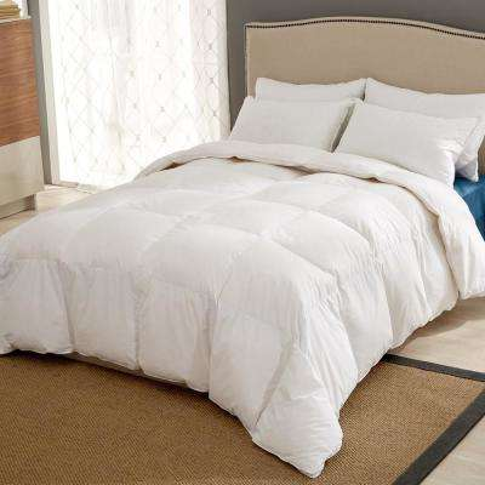 All Season White King Goose Down Fiber Gusseted Comforter