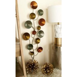 16 inch x 40 inch Modern Iron Discs and Lines Wall Decor in Gold, Iron Gray and Turquoise by