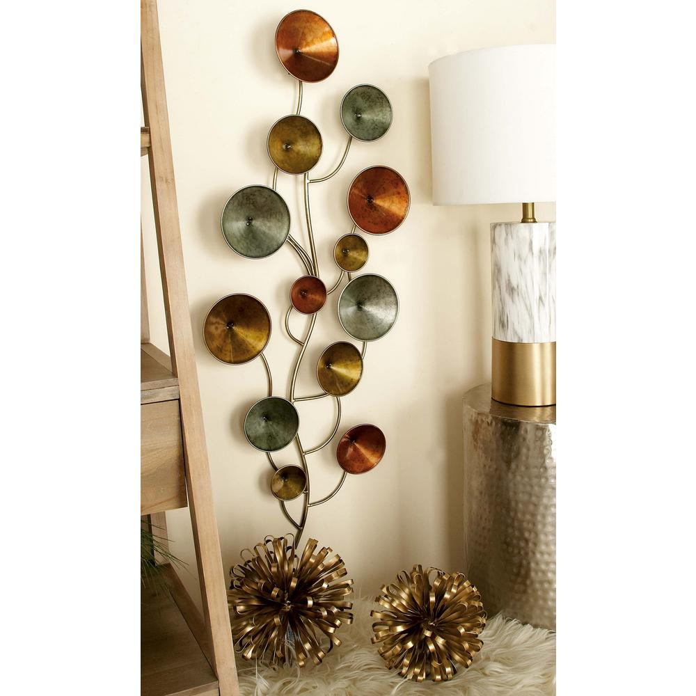 16 in. x 40 in. Modern Iron Discs and Lines Wall